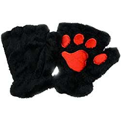 Tinksky Winter Cute Cat Claw Dog Paw Plush Mittens Short Fingerless Gloves Half Finger Gloves Christmas Birthday Gift for women girls (Black)