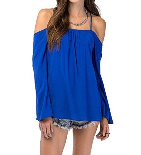 5cf12d801e00a9 Womens Halter Backless Cross Straps Loose Off Shoulder Shirt Blouse Top(Blue  XL) - Buy Online in Oman.