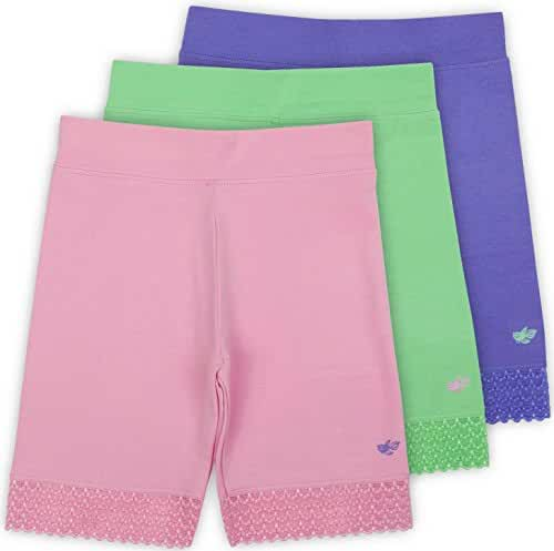 Jada Girls Bike Shorts, Tagless, Soft Cotton, Lace Trim, Underwear, 3 Pack