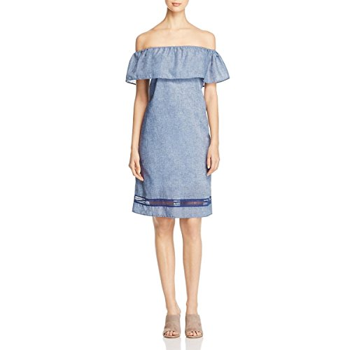 Alison Andrews Womens Marilyn Linen Blend Off-The-Shoulder Casual Dress Blue M