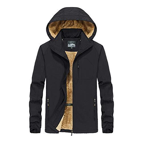 Chaqueta Impermeable con Capucha para Hombres Fleece Abrigos Calientes Abrigo al Aire Libre a Prueba de Viento: Amazon.es: Ropa y accesorios