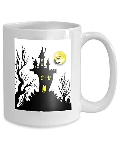 (mug coffee tea cup moon halloween castle horror night silhouette Lifelike)