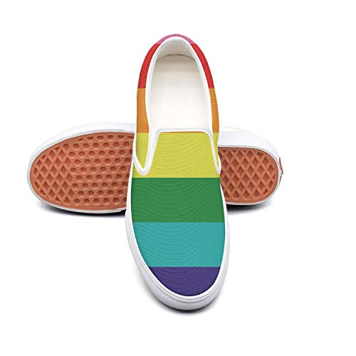 (Women's Fashion Sneakers Rainbow Flag LGBT Pride Texas Flag Comfortable Loafers Slip on Casual Canvas Walking Shoes)