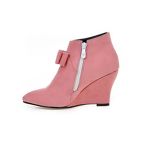 Heels high Toe High Boots WeenFashion Women's Pointed Suede Pink Closed Ankle Imitated Zipper x6wxYvqIF
