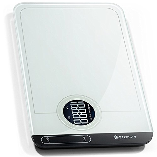 Etekcity Báscula Digital Touch Multifuncional Cristal Templado, capacidad 1g a 5kg