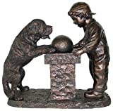 "Young Boy and St. Bernard Dog Antique Bronze 31""H Fountain"