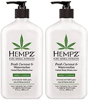 product image for Hempz herbal body moisturizer, pearl white, fresh coconut/watermelon, 17 Ounce,pack of 2