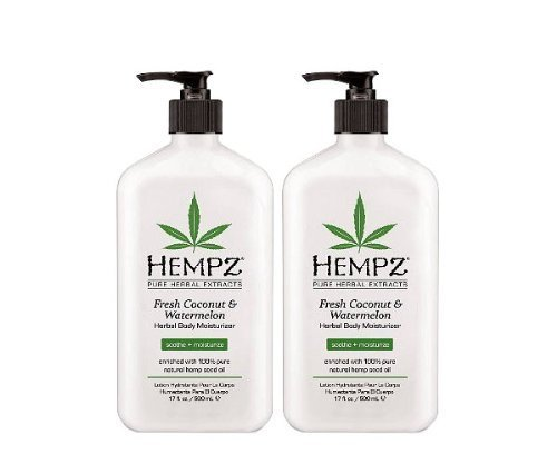 Hempz Hempz herbal body moisturizer, pearl white, fresh coconut/watermelon 17 oz pack of 2, 17 Ounce