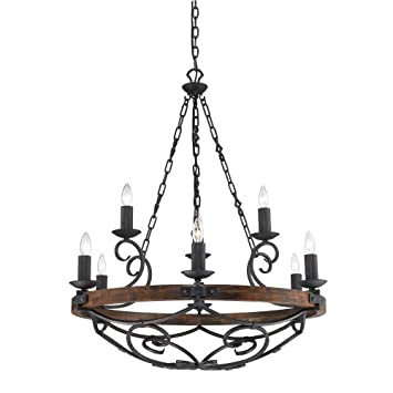 Golden Lighting 1821-9 BI Chandelier with Metal Candle Sleeves Shades, Black Iron Finish