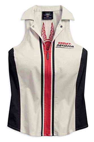 Harley-Davidson Women's Vertical Stripe Sleeveless Zipper Shirt 96201-18VW (2XL) White (Harley Davidson Womens Sleeveless)