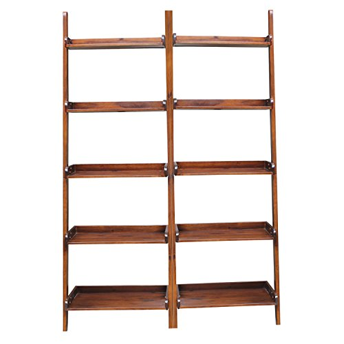International Concepts 2-Piece Lean to Shelf Units with 5 Shelves, Espresso Finish