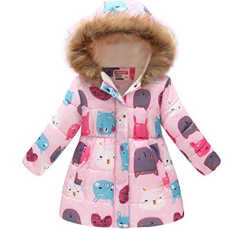 Miss Bei Girl's Kids Toddler Winter Flower Print Parka Outwear Warm Cotton Coat Hooded Jacket (Little Pink Blame, ()