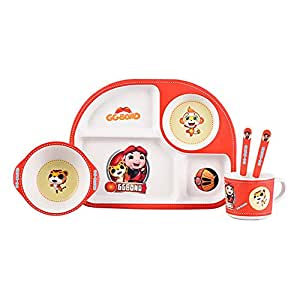 ZAD HOME Bamboo Fiber Plate, healthy Children Tableware Feeding, 5 Pieces Sets (ZH-80101)