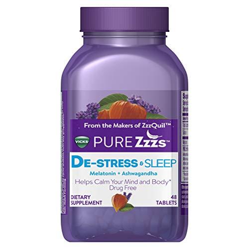 (Vicks PURE Zzzs De-Stress & Sleep Melatonin Sleep Aid tablets with Ashwagandha, Chamomile, Lavender, & Valerian Root, 1mg per tablet, 48 ct)