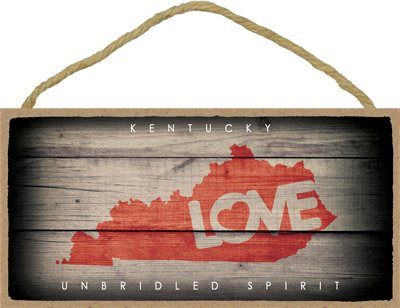 "(SJT13550) Kentucky - State Outline With ""Love"" And State Motto 5"" x 10"" Wood Plaque Sign"