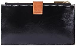 Borgasets RFID Blocking Women\'s Genuine Leather Wallet Credit Card Holder Zipper Purse Black