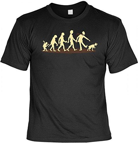 Lustiges T-Shirt für Hundebesitzer - Evolution Hundefreund - Geschenk mit Urkunde 'Zweibeiner 1. Klasse'