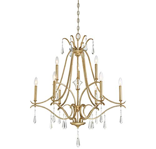Laurel Gold Crystal Chandelier (Minka Lavery Chandelier Lighting 4449-582 Laurel Estate, 9-Light 540 Watts, Brio Gold)