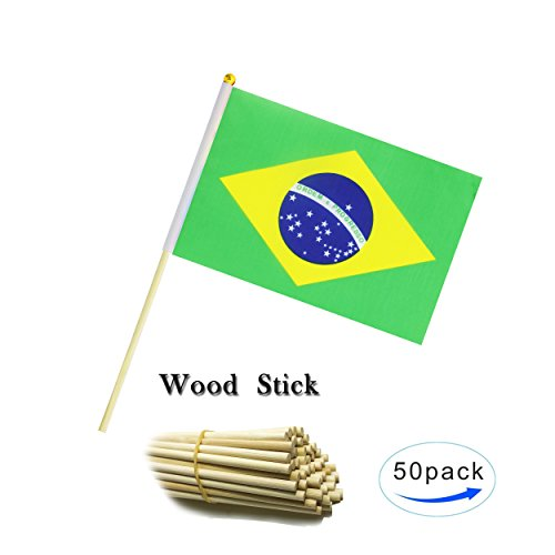 Kind Girl Wood Hand Held Brazil Flag Brazilian Flag Stick Flag Small Mini Flag 50 Pack Round Top National Country Flags,Party Decorations Supplies for Parades,World Cup,Sports Events, Celebration