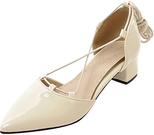 Shoes Lace Salbu Calaier Toe 4CM Pointed Sandals Women white Heel Off Block up q5qrxAvw0f
