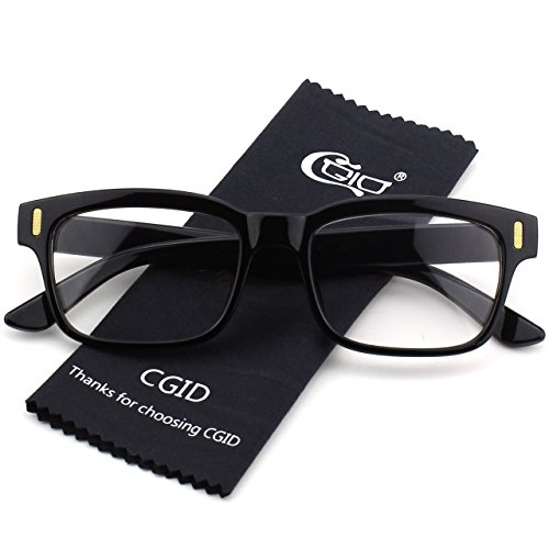 [Happy Store CN84 Casual Fashion Horned Rim Rectangular Bold Thick Frame Clear Lens Eye Glasses,Glossy] (Geek Chic Glasses)