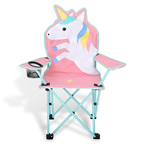 KABOER Kids Outdoor Folding Lawn and Camping Chair with Cup Holder, Unicorn Camp Chair ()