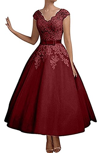 Evening Bridesmaid Dress Dresses Dress V Red Length Neck Dark Bridesmaid Prom Dress Women's Ankle Party qIWEpBww
