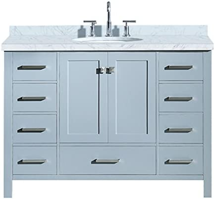 ARIEL Cambridge A049S-VO-GRY 49 Inch Single Oval Sink Solid Wood Grey Bathroom Vanity with 1.5 Inch Edge White Carrara Marble Countertop