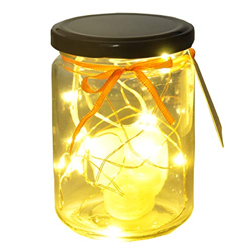 ENNAS Skeleton Head in Mason Jar Lights 10 LED Solar Warm White Fairy String Lights Lids for Halloween Decoration 4.5