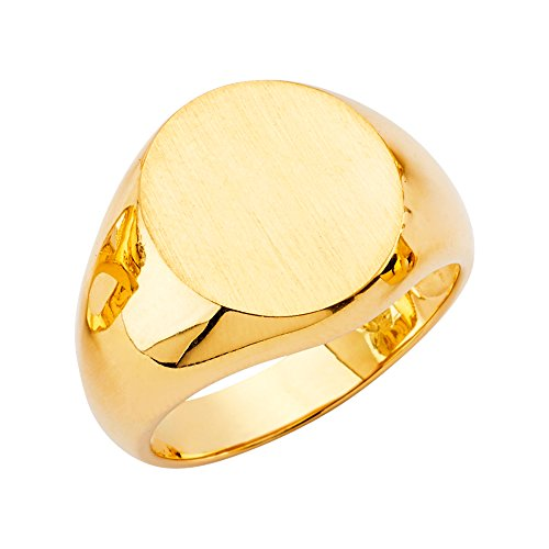 - Wellingsale Mens 14K Yellow Gold Engravable Signet Ring - Size 10