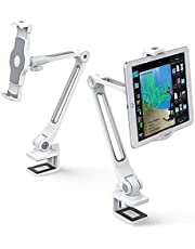 """AboveTEK Sturdy iPad Holder, Aluminum Long Arm iPad Tablet Mount, 360° Swivel Tablet Stand & Phone Holder with Bracket Cradle Clamps 4""""-11"""" Devices for Kitchen Bedside Office Desk Showcase(White)"""