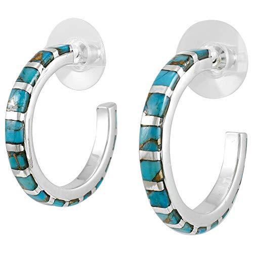 Silver Hoop Teal (Turquoise Hoop Earrings Sterling Silver & Genuine Gemstones (Teal/Matrix Turquoise))
