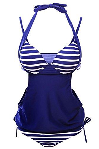 confit you - Damen Tankini 2-teilig Gestreift Cut Out Badeanzug, XS-XXL, Blau