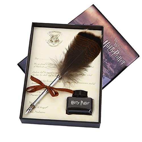 Owl Feather Quill Pen Gift Set for Kids Antique Dip Feather Pen Set Calligraphy Pen Set Writing Quill Ink Dip Pen with Ink,Best Christmas Gift Set