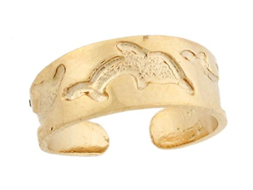 14k Yellow Real Gold Dolphin Sea Life Band Designer Womens Toe Ring by Jewelry Liquidation (Image #1)