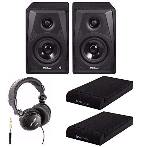 Tascam VL-S3BT 14 Watt 2-Way Powered, Bluetooth Desktop Monitors with Knox Gear Isolation Pads and Headphones ()