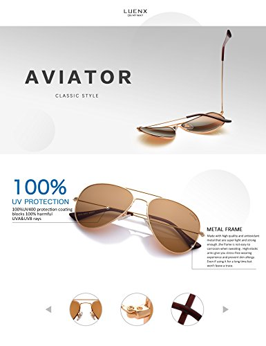 LUENX Womens Mens Aviator Sunglasses Polarized Brown Amber Lenses Gold Metal Frame UV400 Protection Classic Style by LUENX (Image #3)