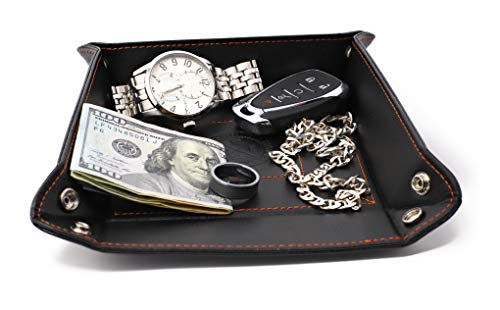 Dapper Effects Catchall Jewelry Tray - Travel Valet For Desk, Dresser Top Or Nightstand (Black) by Dapper Effects