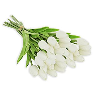 Ezflowery 30 Heads Artificial Tulips Flowers Real Touch Arrangement Bouquet for Home Room Office Party Wedding Decoration, Excellent Gift Idea for Mothers Day (30, White) 68