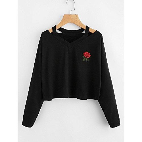 Sweatshirt College Rose Fashion manches blouse impression longues Vtements pour Black dcontracte chemise femmes LILICAT p5CqBwH