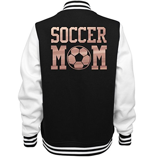 Customized Girl Metallic Soccer Mom Jacket: Ladies Fleece Letterman Varsity Jacket ()