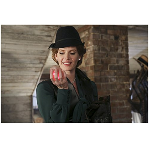 Rebecca Mader Once Upon a Time in green coat smiling, holding glowing heart 8 x 10 Inch Photo