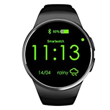 Flormoon Smartwatch 1.3 inch MTK2502C GSM IOS Android Smart Watch Phone with Camera(Black+Silver)