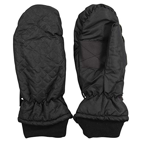 Women's Insulated Quilted Winter Snow Ski Mittens (Black, - Womens Mittens Insulated