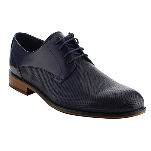 Arider AG54 Mens Classic Perforated Lace Up Stacked Heel Oxfords Navy 7yPSHkuI