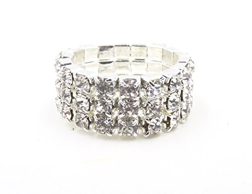 WTZ - New Sparkling 3 Row Rhinestone Stretch Ring -
