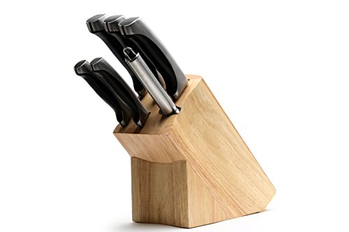 Ross Henery Professional Knives, 6 Piece High Grade Stainless Steel, Kitchen Knife Set in Oak Block (Utility 8' Slicer)