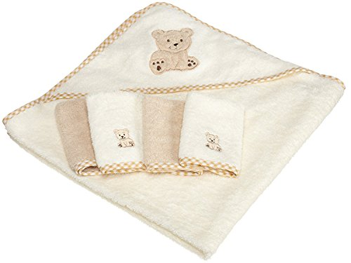 Hooded Towel & 4 Washcloth Set, Brown Bear