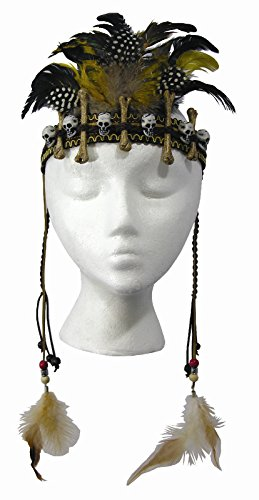Day of the Dead Voodoo Headpiece Skulls Dangle Feathers Costume Accessory (Voodoo Accessories)