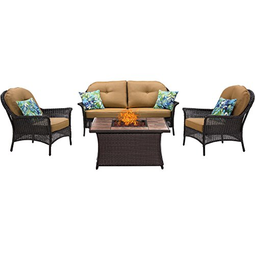 Hanover SMAR4PCFP-TAN-TN 4 Piece San Marino Fire Pit Lounge Set in Country - San Stores Tan